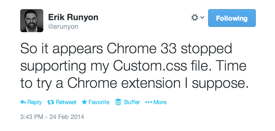 Chrome removed support for custom.css as well